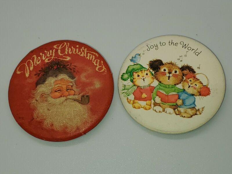 2 Canvas Hallmark Pinback Christmas  Button Santa Claus Cozy Critters VTG