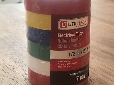 Tough 7 Mil Electrical Tape 6 Colors Wiring Tape 12x20ft
