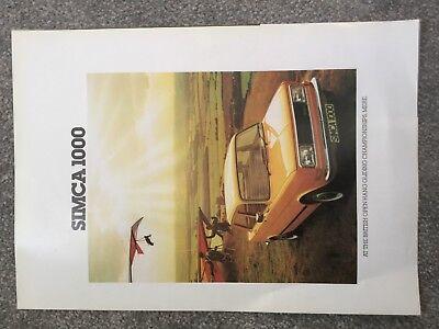 Simca 1000  LS GLS 1977Original UK Sales Brochure in VGC