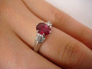 !PLATINUM GENUINE RUBY AND 0.40 CT DIAMOND ENGAGEMENT RING, 3.9 GRAMS, SIZE 5