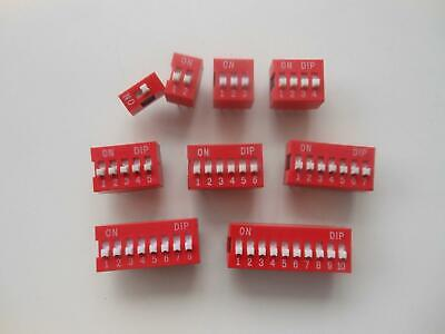 45pcs 1 2 3 4 5 6 7 8 10 Position Dip Switch Assorted Gold Electroplating Pins
