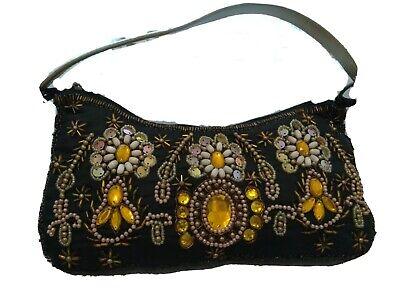1920s Style Purses, Flapper Bags, Handbags Womens Black Handbag Rhinestones Sequins Beaded Purse Wedding Dressy Formal  $13.54 AT vintagedancer.com