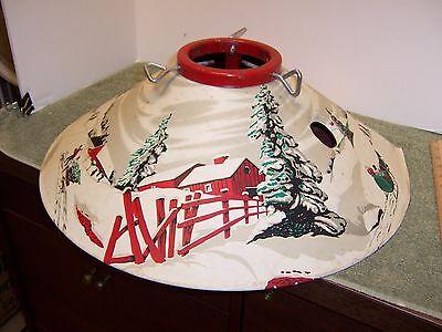 Vintage Poloron Metal Christmas Tree Stand Litho Winter Scene with box
