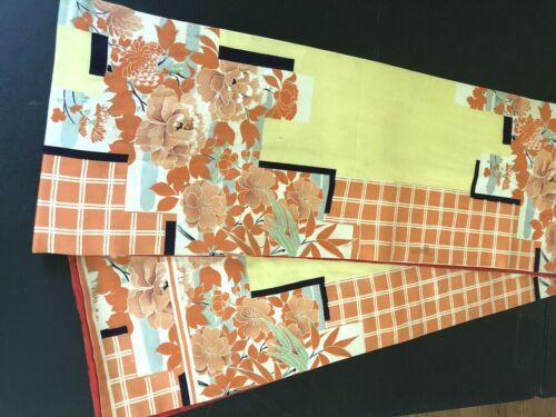 "Vintage Japanese Obi Sash Belt 144"" X12"" With Orange Flowers Silk  A BEAUTY"