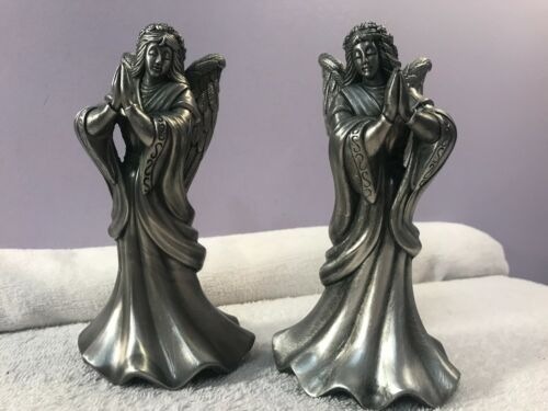 Christmas Pewter Praying Angel Candle Holders Set of 2 in box EX4768