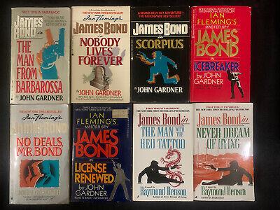 Lot Of 8 James Bond PB, John Gardner, Raymond Benson, Never Dream Of Dying......