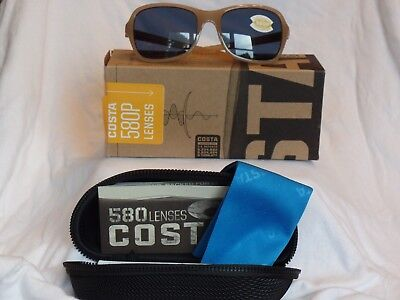 NIB COSTA DEL MAR KARE SUNGLASSES COLOR SHINY SAND/CRYSTAL GRAY 580P LENSES