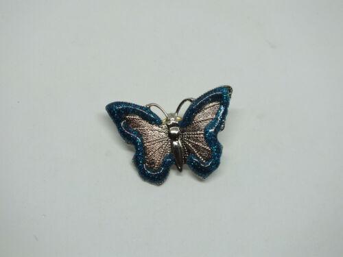 Beautiful Brooch Pin Silver Tone Butterfly Deep Turquoise Glitter Enamel 1 1/2 x
