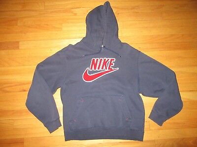 9U/RARE VINTAGE NIKE RAISED SWOOSH HOODED SWEATSHIRT/BLUE/MEDIUM!