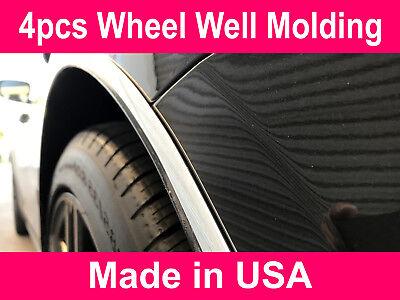 Fit 2001-2019 Cadillac Chrome L-SHAPE Wheel Well Fender Trim Molding Kit 4pcs (Wheel Molding Trim)