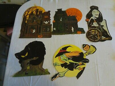 Vintage Halloween paper decoration lot 80's ? Hallmark Haunted House Cat Witch