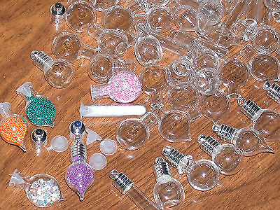 30 Huge Lot Glass Bottles Vials Charms Pendants Kit