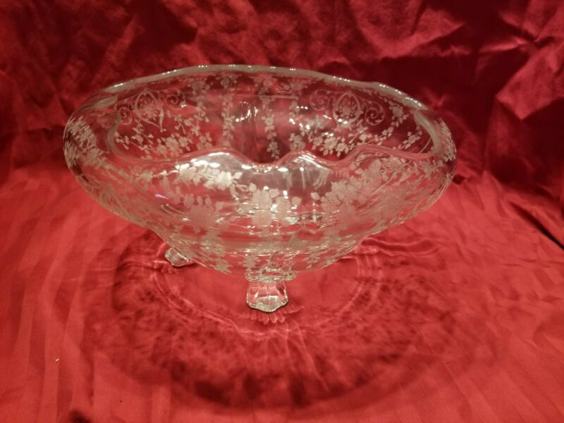 Cambridge Diane Clear Glass Four Footed Bowl