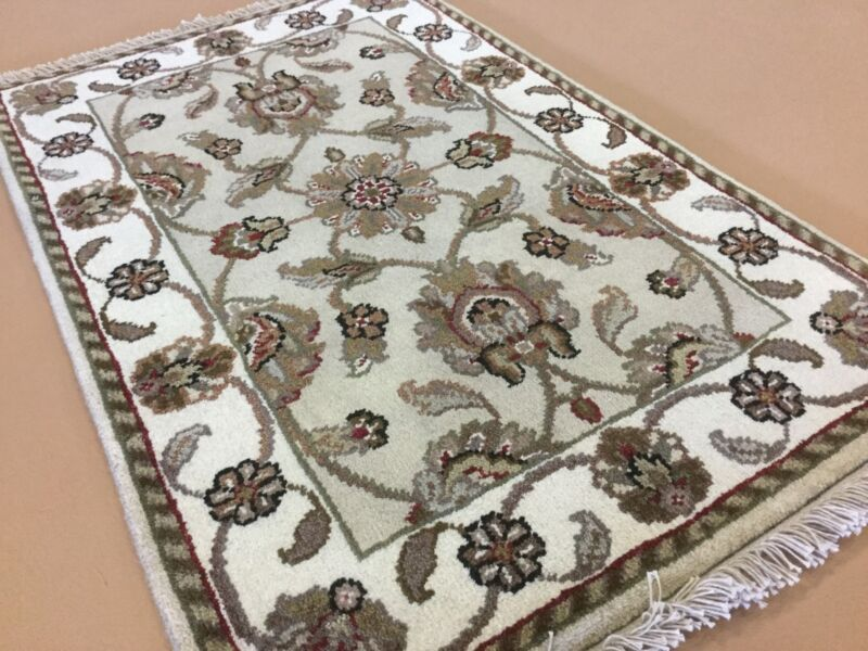 Beige Green Floral Agra Persian Oriental Area Rug Hand Knotted Wool Entrance