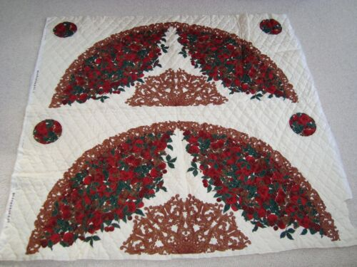 """Vintage 48"""" Quilted Christmas Tree Skirt & 4 Coaster Panel w/Fruit/Holly/Berries"""