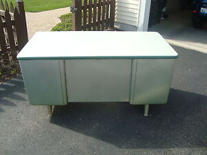 Vintage Mid-Century Mad Men Machine Age Eames Mist Green Steel Tanker Desk