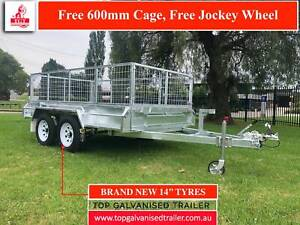 10x5 TANDEM GALVANISED TRAILER FREE 600mm CAGE ATM 2000KG NEW WHEELS