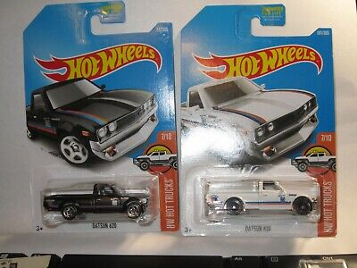 Hot Wheels Datsun 620 #317 Black & #181 White Lot of 2