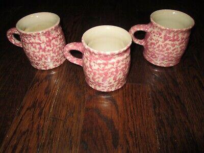 THE WORKSHOP GERALD HENN  set of 3 dark pink/red spongeware coffee cup/mug.