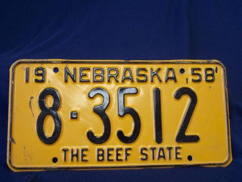 1958 Nebraska License Plate - 8-3512