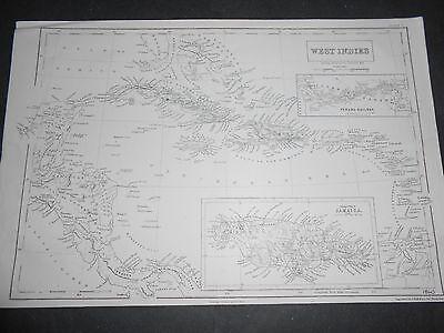 1860 LARGE ANTIQUE MAP CENTRAL AMERICA JAMAICA CUBA HAITI PANAMA RAILWAY