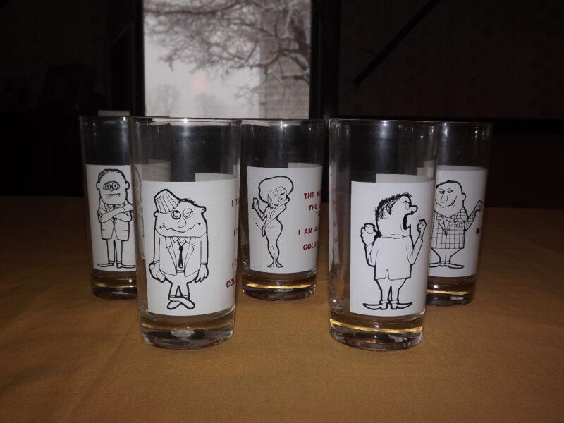 VINTAGE  BAR 5 NOVELTY FUNNY SAYINGS DRINK GLASSES