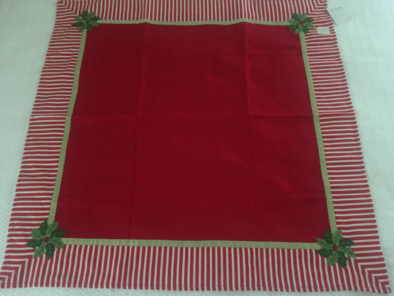 "Mr. Tablecloth 36"" Square Poinsettia Christmas Holiday Tablecloth  Red NEW w Tag"