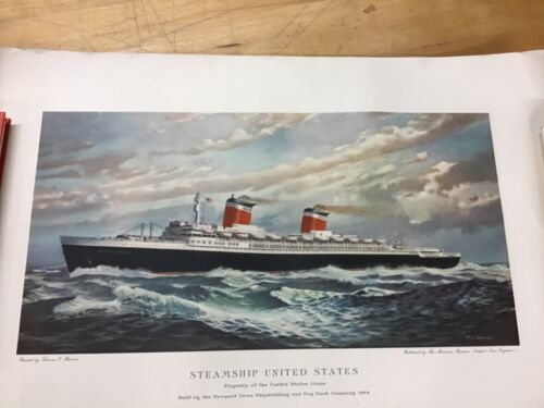 The Steamship United States Lithograph By T.C. Skinner