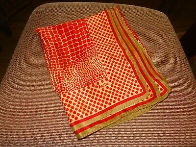 Vintage Scarf Styles -1920s to 1960s Vintage Sacha Red/Gold Silk Scarf Signed 30