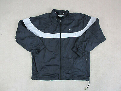 VINTAGE Nike Jacket Adult Extra Large Black Gray Swoosh Windbreaker Mens 90s A09