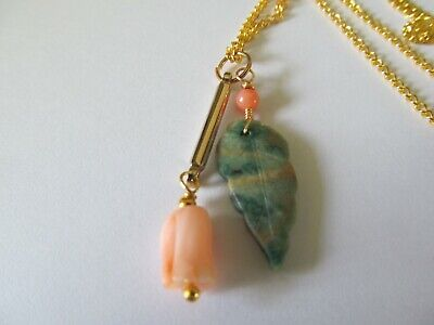 ANGEL SKIN HAND CARVED CORAL PIKAKE ROSE w/GREEN JADE LEAF PENDANT GOLD (Pikake Rose)