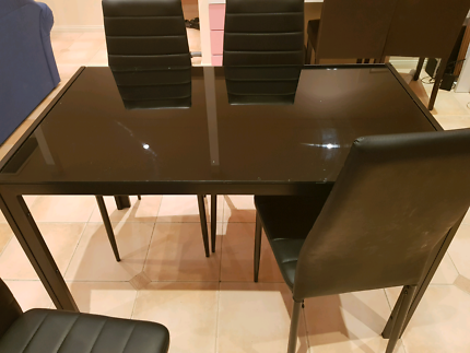 Dinning Table Set Glass Top With 4 Chairs