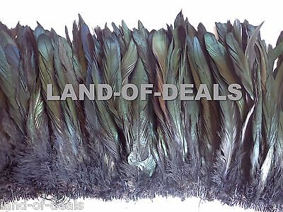 120+ Black rooster feathers IRIDESCENT coque tail feathers strung wholesale bulk