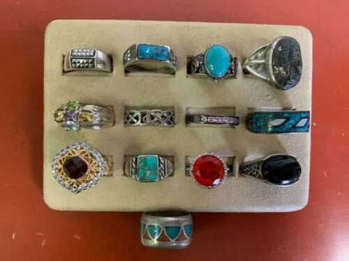 Set Of (13) Sterling Silver Rings Assorted Styles Sizes 10 & UP Lot #18
