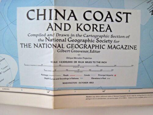 """1953 """"National Geographic Magazine Map"""" of """"China Coast & Korea""""   *"""