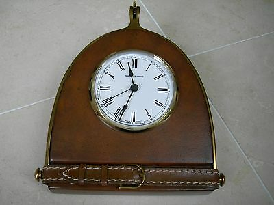 Maitland Smith Rosewood Veneer Tabletop Clock with Polished Brass Accents