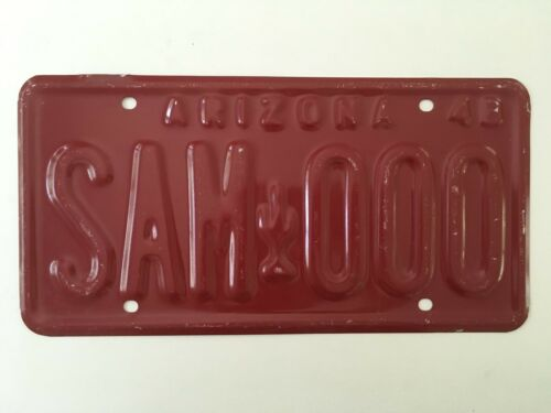 1948 Arizona License Plate PROTOTYPE Aluminum with Cactus Graphic DATED