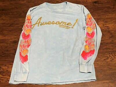 Taylor Swift AWESOME! Long Sleeve Glitter Floral Print Cloud Dye Shirt Sz Large