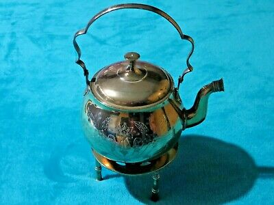 Vintage Ornamental/Decorative Brass Teapot/Kettle With Brass Trivet Free UK P&P