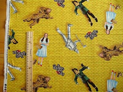 Wizard of Oz Dorothy Scarecrow Tin Man Lion Allover Cotton Quilt Fabric 1/2 Yard