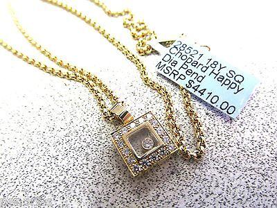 Authentic Chopard Happy Diamond Square Pendant  Necklace 18k    Make Offer
