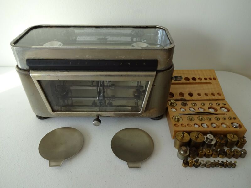 Vintage Torsion Balance Co. Style RX-1 Pharmaceutical Scale With Balance Weights