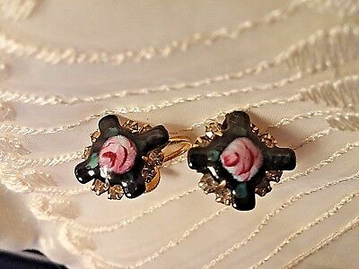 Guilloche Mourning Earrings Vtg 50s Enamel Black Cross Rose Rhinestones GF ?