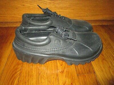 Men's Sz 11 CROCS ALL TERRAIN AXLE BOAT OXFORD WATERPROOF Black Leather