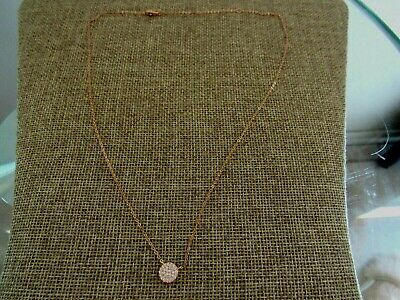 Nadri Cubic Zirconia pave disc Pendant Necklace gold plated NWOT