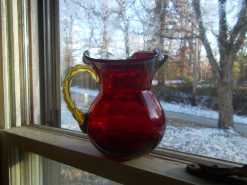 BEAUTIFUL RUBY RED HAND BLOWN GLASS PONTILED PITCHER WITH YELLOW APPLIED HANDLE