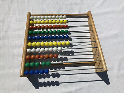 Wooden Abacus 10 Row Colorful Beads Kis Math Counting Large Learning Educational