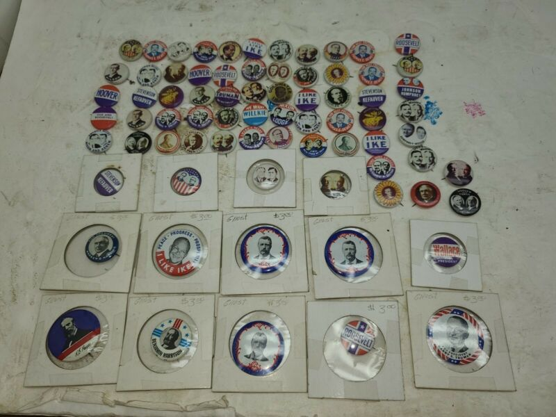 LOT OF 75 PC. Vintage Reproduction Presidential Campaign Pin Buttons