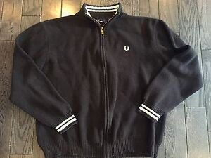 Mens Navy Blue Fred Perry Sweater - L