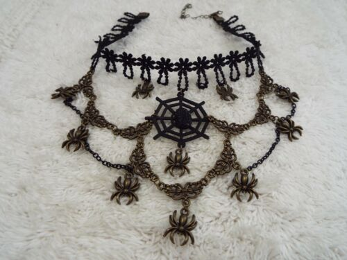 Brass-tone Spider Charm Black Lace Halloween Choker Necklace (C63)